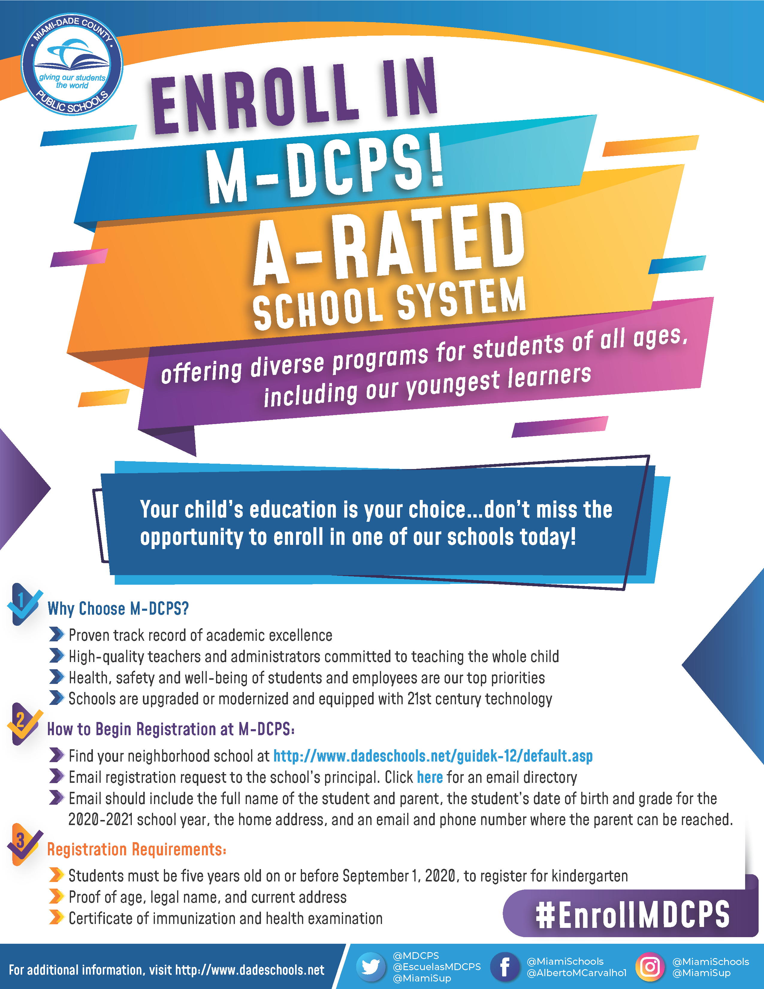 Enroll in M-DCPS Day Flyer