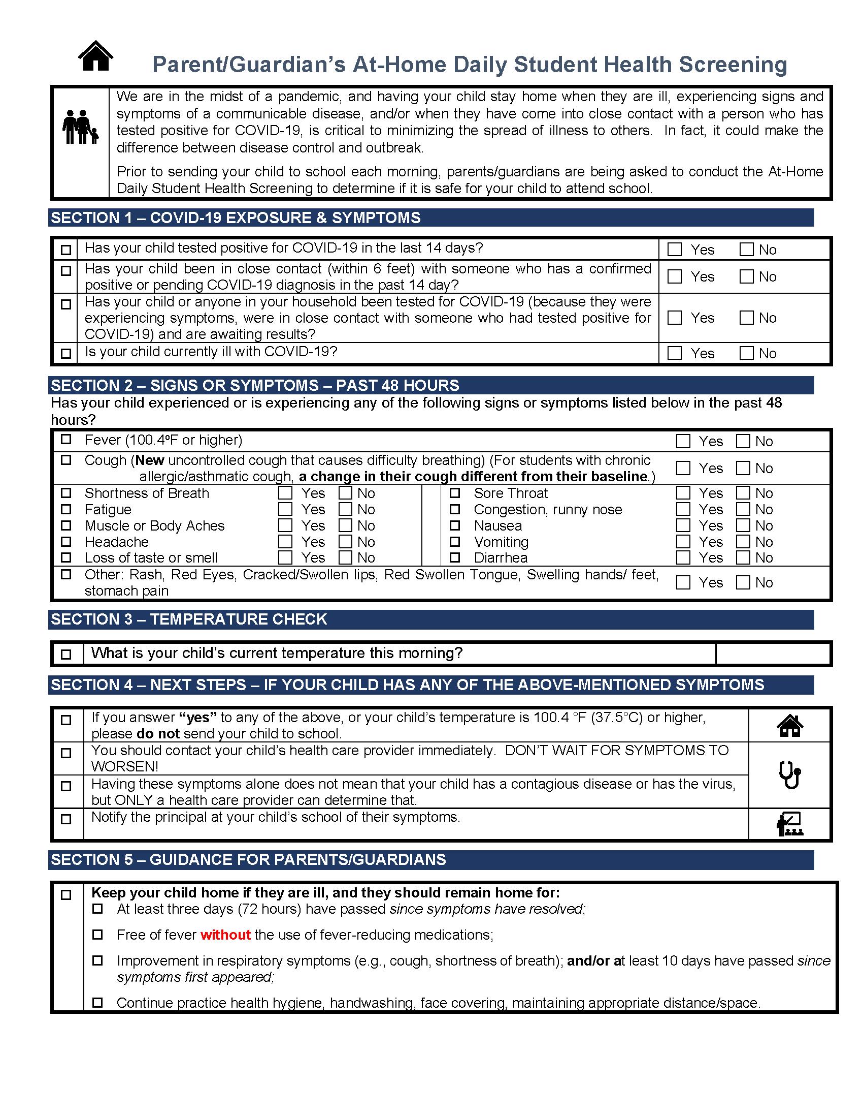 screening sheet